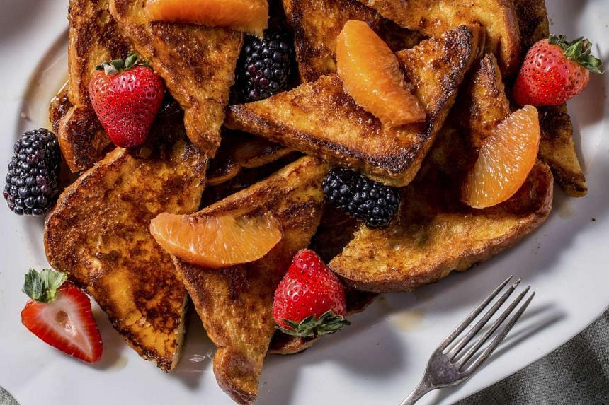 Homemade French toast. Sweeten with maple syrup, jam, honey, or whatever you like.