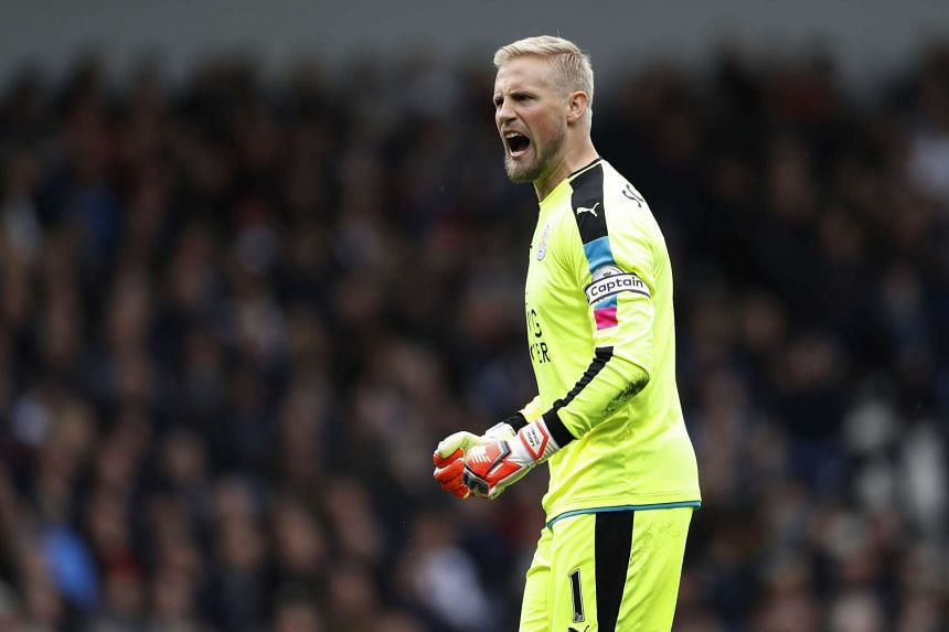 Leicester City's Kasper Schmeichel celebrates after Jamie Vardy (not pictured) scores a goal during their match against West Bromwich.