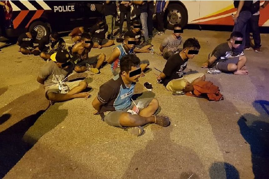Indonesian men arrested during the joint enforcement operation on May 4, 2017.