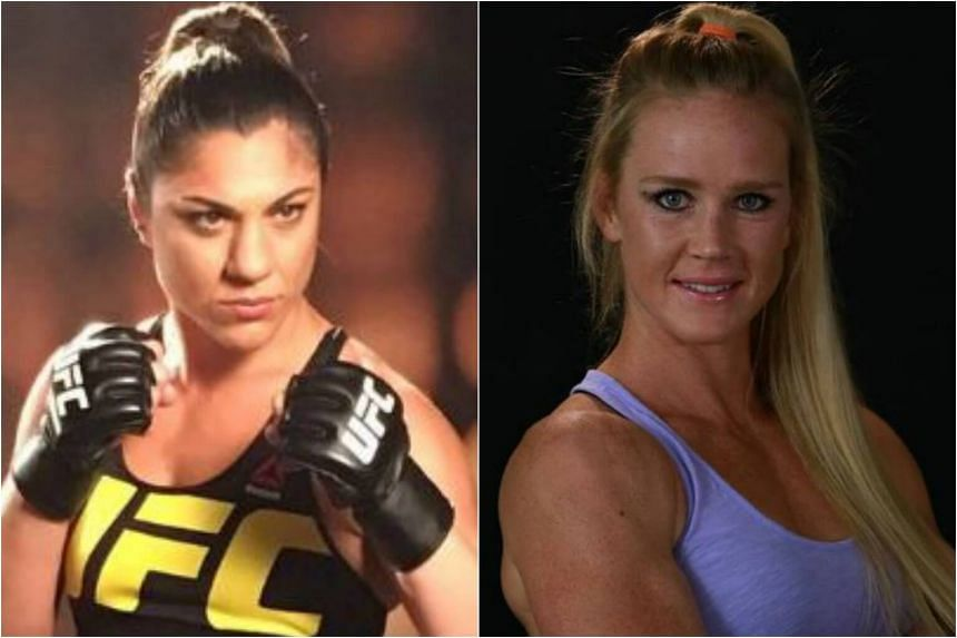 Brazilian mixed martial arts (MMA) fighter Bethe Correia (left) and former Ultimate Fighting Championship (UFC) women's bantamweight champion Holly Holm (right) will headline the UFC Fight Night Singapore at the Singapore Indoor Stadium on June 17.