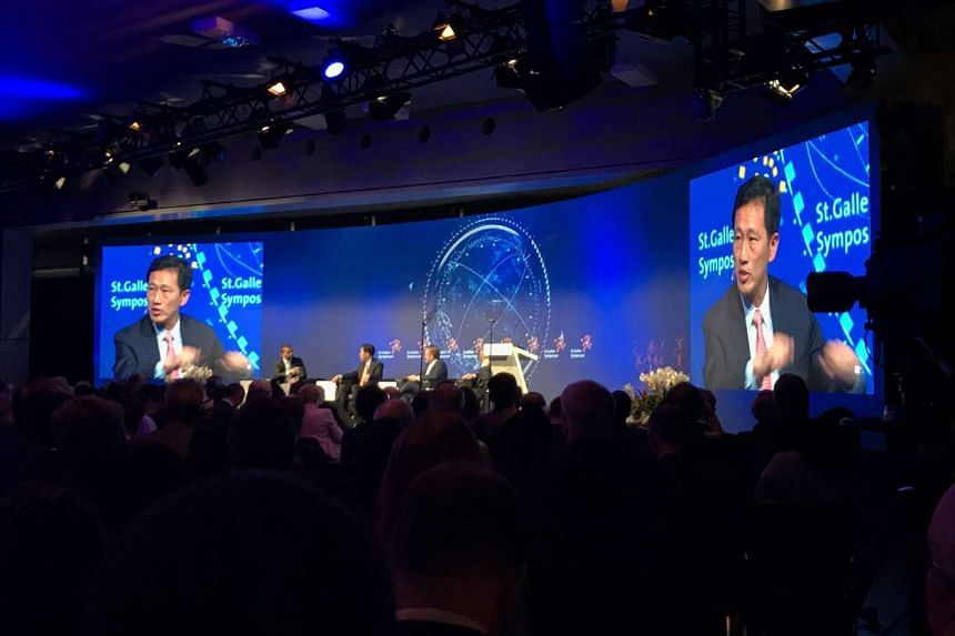 Education Minister Ong Ye Kung speaking at a panel discussion at the St Gallen Symposium in Switzerland.