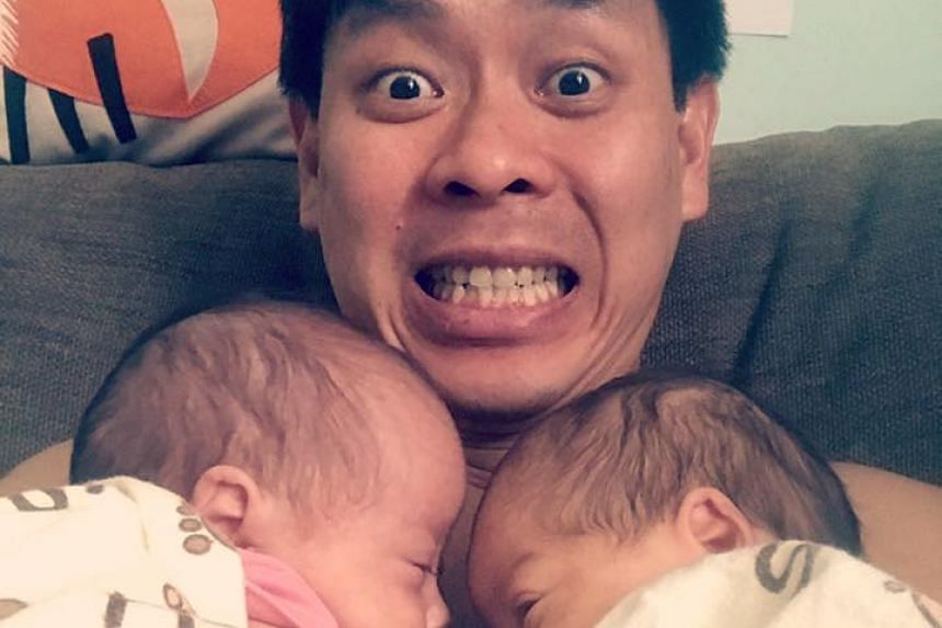 MP Louis Ng with his twin daughters, Katie and Poppy.