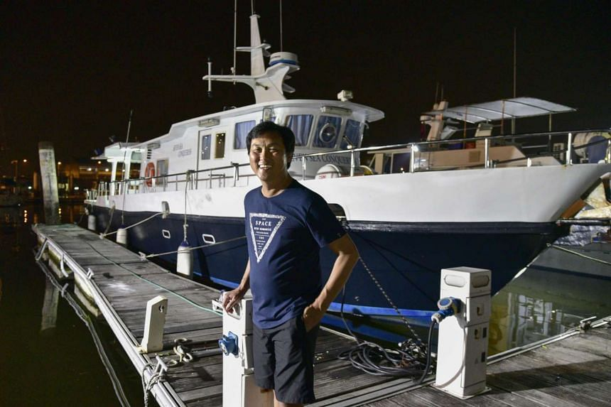 Ricky Tan arrives  at the Marina Country Club after being detained in Tanjung Pinang for 8 months.