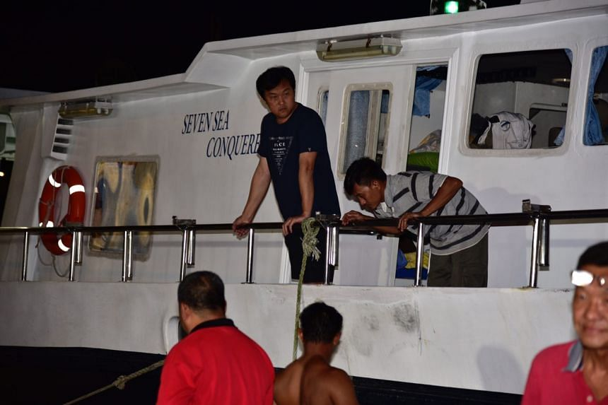 Mr Tan arrived at Marina Country Club on the Seven Seas Conqueress - the vessel he had been detained on.
