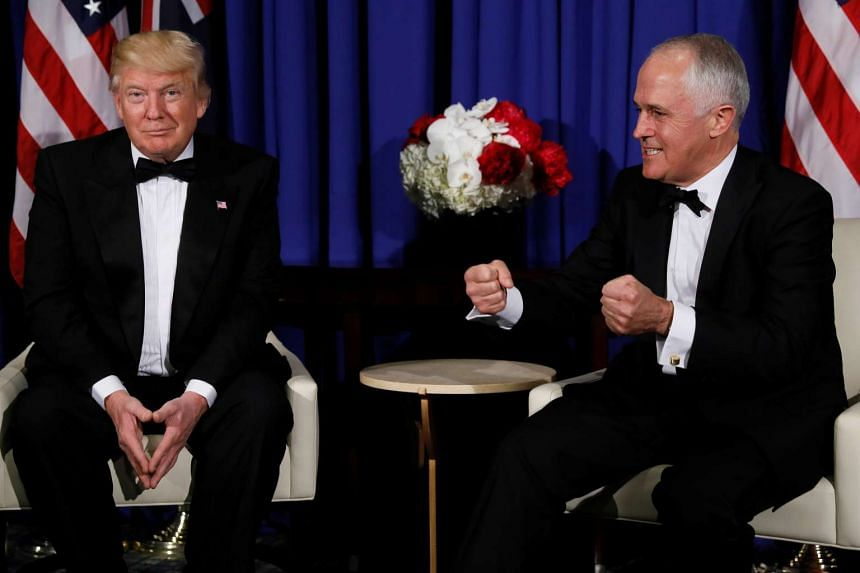 Trump (left) and Turnbull deliver brief remarks to reporters as they meet in New York, May 4, 2017.