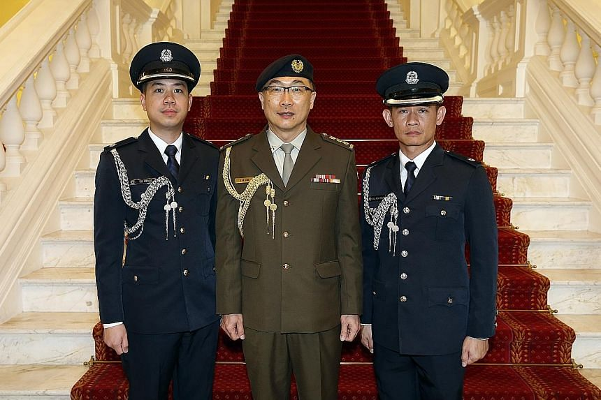 (From far left) ASP (NS) Teo Congde, Colonel (NS) Lim Jit Mee and ASP Chua Kung Young.