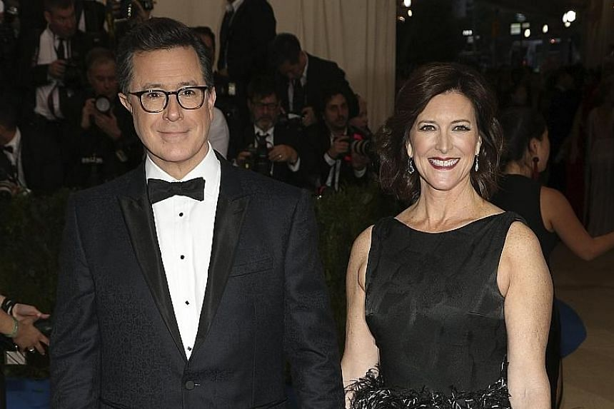 Stephen Colbert (with wife Evelyn McGee-Colbert) made an off-colour joke about US President Donald Trump and Russian President Vladimir Putin.