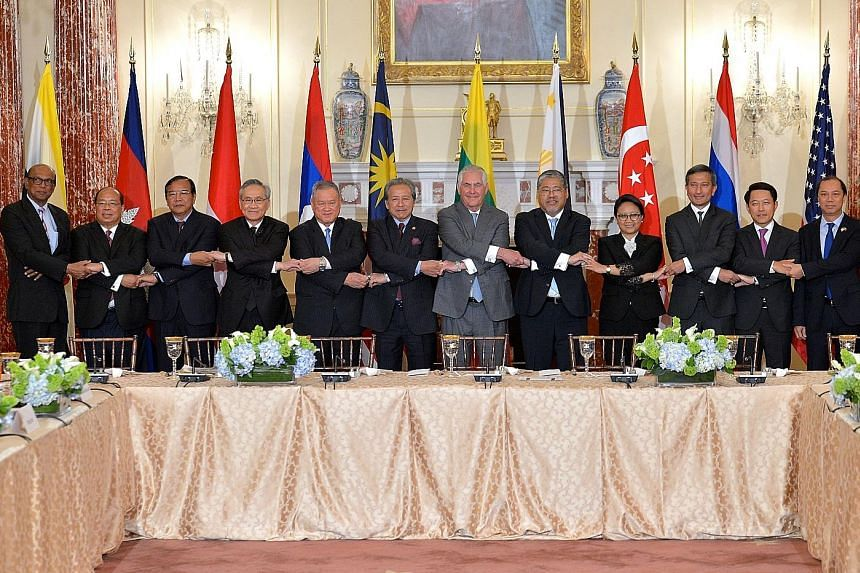 At the meeting in Washington on Thursday were (from left) Asean deputy secretary-general V. P. Hirubalan; Myanmar's national security adviser Thaung Tun; Foreign Ministers Prak Sokhon of Cambodia; Don Pramudwinai of Thailand; Lim Jock Seng of Brunei,
