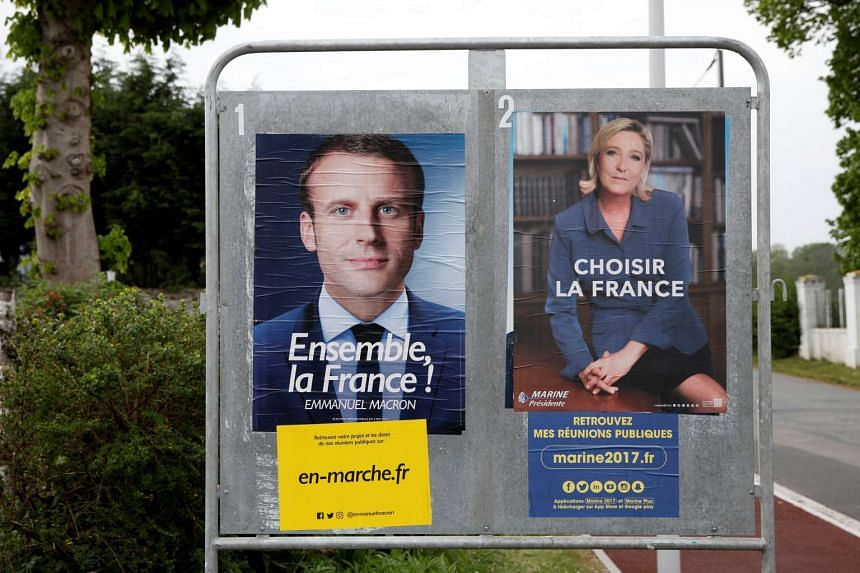 French presidential election candidates Emmanuel Macron (left) and Marine Le Pen.