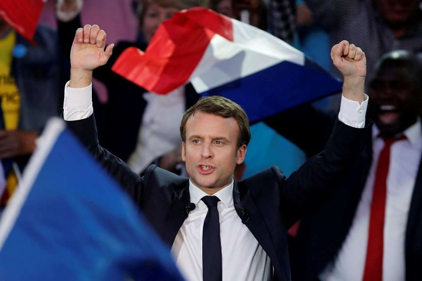 Emmanuel Macron attends a campaign rally in Albi, France, May 4, 2017.