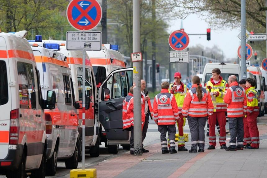 Ambulances parking along a road in Hanover during an evacuation operation, after five WWII-era bomb was found in the city, on May 7, 2017.