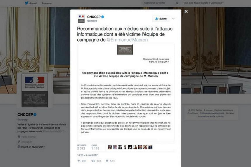 A screengrab made on May 6 shows a press release on the Twitter account of the French election authorities (CNCCEP), with recommendations to the media after Macron's campaign was targeted in a hacking attack.