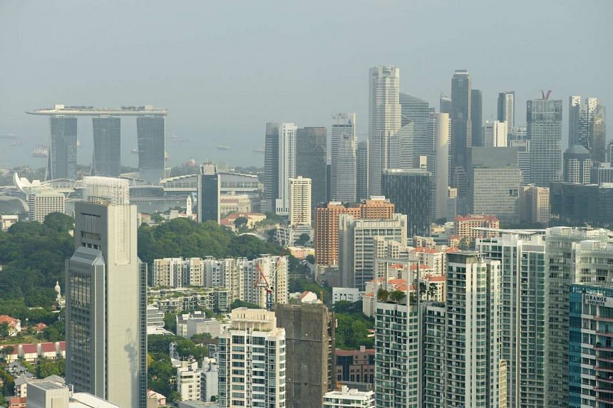 A skyline view of the Marina Bay Sands and the central business district (CBD) area.