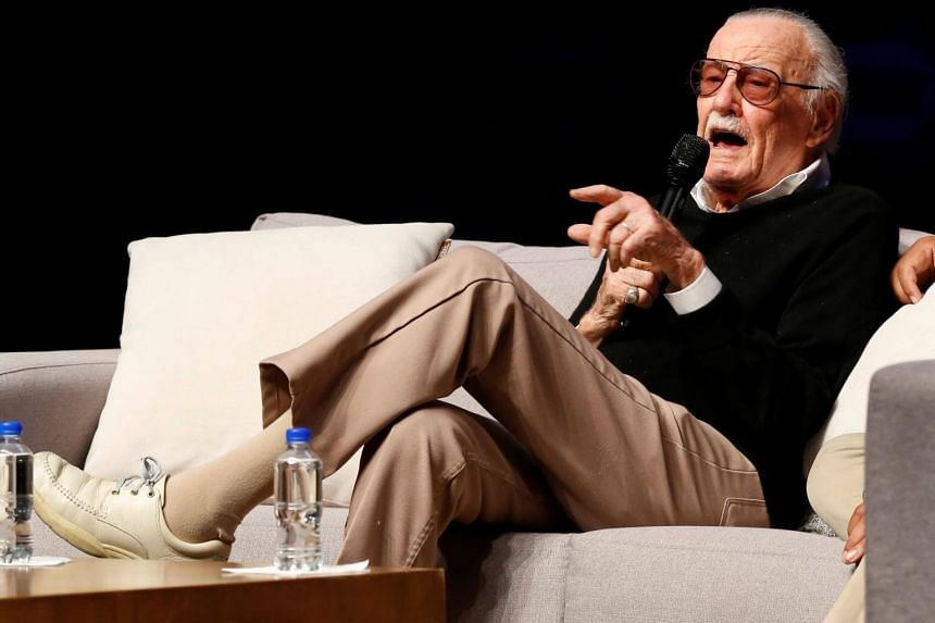 Stan Lee speaking to the media at a news conference in Queretaro, Mexico, on May 7, 2017.