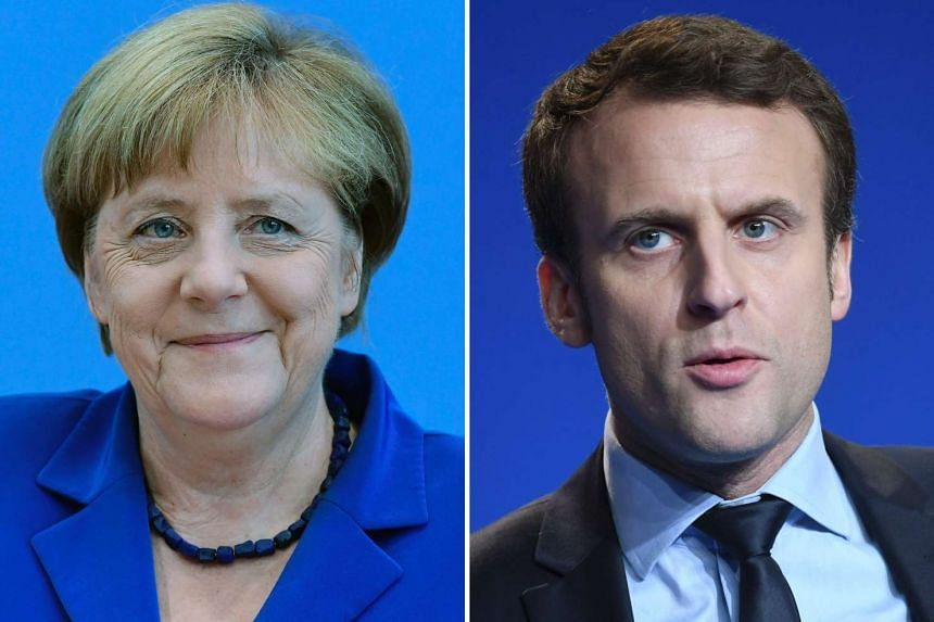"German Chancellor Angela Merkel (July 28, 2016 in Berlin) and French presidential election candidate for the ""En Marche"" movement Emmanuel Macron (March 4, 2017 in Caen)."