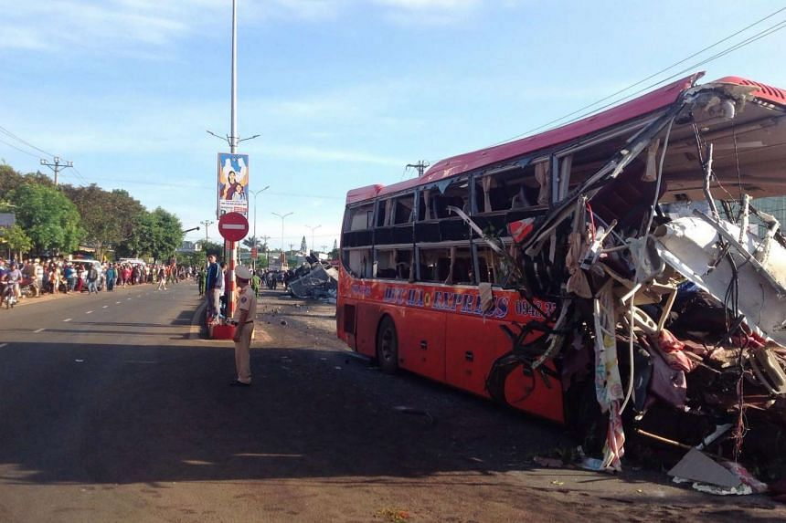 A bus was hit by a truck on a highway in Chu Se town, Vietnam's central highland province of Gia Lai.