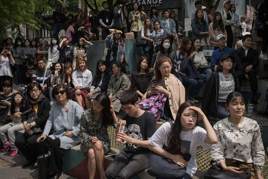 Young people listening to a campaign speech by South Korean presidential candidate Sim Sang-jeung in Seoul on May 2.