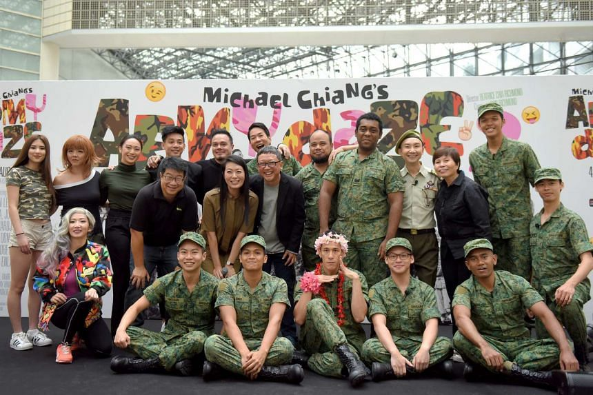 A photo of the full cast together with the creative team behind Army Daze 2, a comedy play about National Service in Singapore.