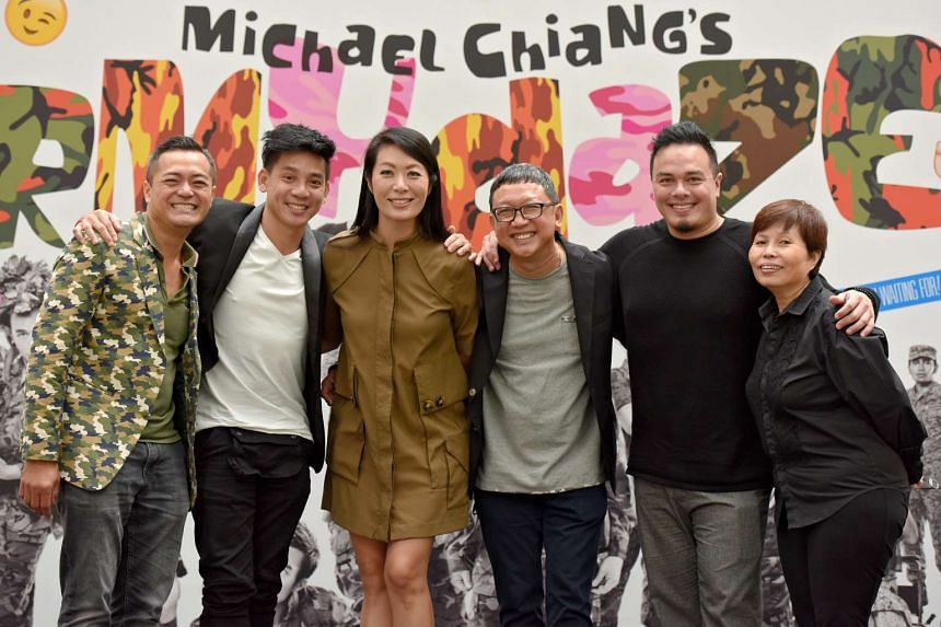 The creative team behind Army Daze 2. (From left-right) Jeffrey Tan, choreographer; Moe Kasim, costume designer; Beatrice Chia-Richmond, director; Michael Chiang, playwright; Don Richmond, composer and Annie Pek, producer.