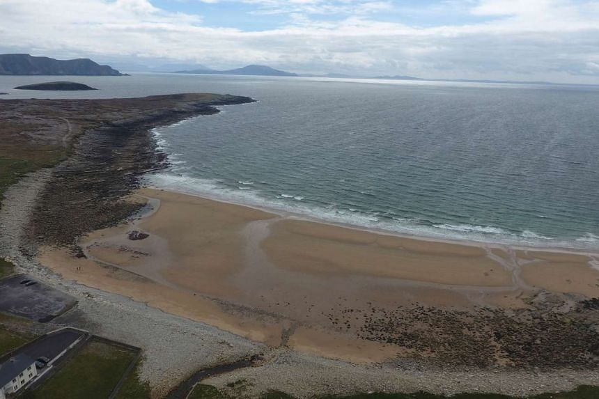 Dooagh beach is seen after a storm returned sand to it, 30 years after another storm had stripped all the sand off the beach, on Achill island, County Mayo, Ireland, May 5, 2017.