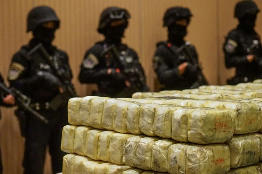 Thai police display seized drugs worth US$37 million during a media presentation at their Bangkok headquarters on Feb 20, 2017.