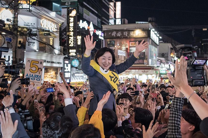 Ms Sim Sang Jeung at a campaign rally in Seoul on Saturday. She is a former labour activist who is the leftwing Justice Party's candidate and is up against 12 men in the presidential race.