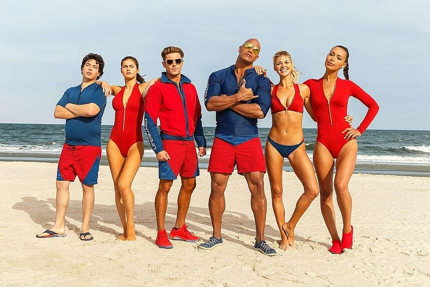 Actor David Hasselhoff was a regular face on the Baywatch television series, which has since spun off to an upcoming movie starring, among others, actor Dwayne Johnson (main picture, fourth from far left).