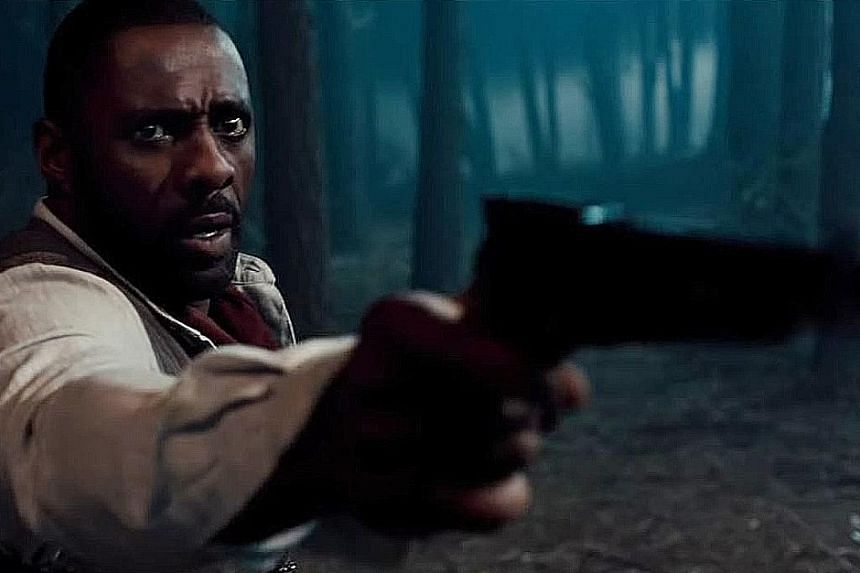 "A screenshot from the official trailer of The Dark Tower, in which Idris Elba plays a ""gunslinger"" trying to save the universe."