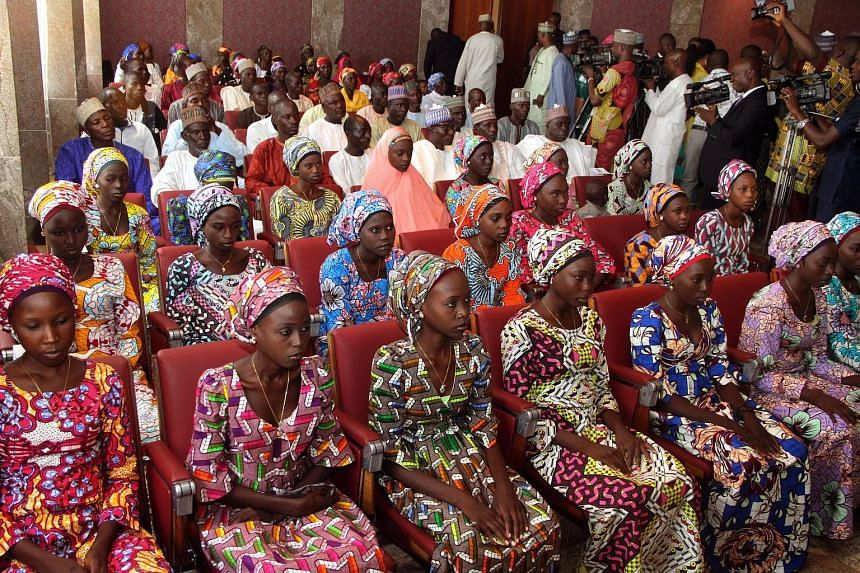 A group of girls from Chibok village who were released by Boko Haram last October. Even with the dozens released on Saturday, over 100 girls are still believed to be held by the militant group, with many possibly married to fighters or forced to beco