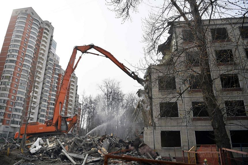 An apartment block in Moscow being demolished last month. Moscow's mayor wants to knock down low-rise housing, focusing on the five-storey buildings thrown up under Soviet leader Nikita Khrushchev in the 1950s and 60s. But the programme has prompted