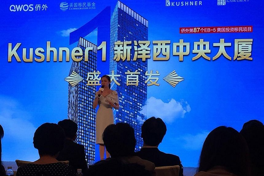 In a presentation in Beijing on Saturday, representatives from the Kushner family business urged Chinese citizens to consider investing in a New Jersey real estate project.