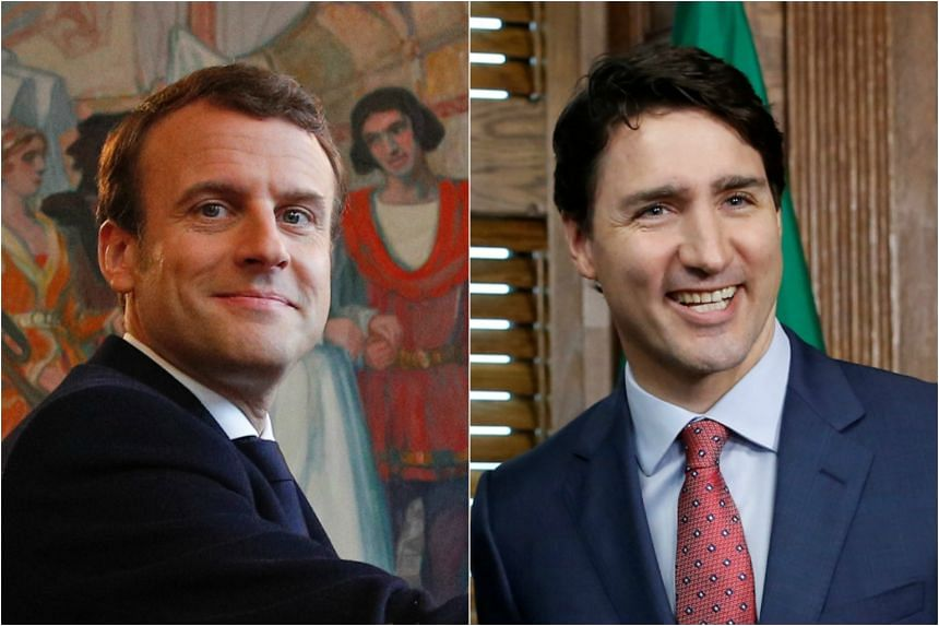 French Presidential-elect Emmanuel Macron (left) and Canadian Prime Minister Justin Trudeau.