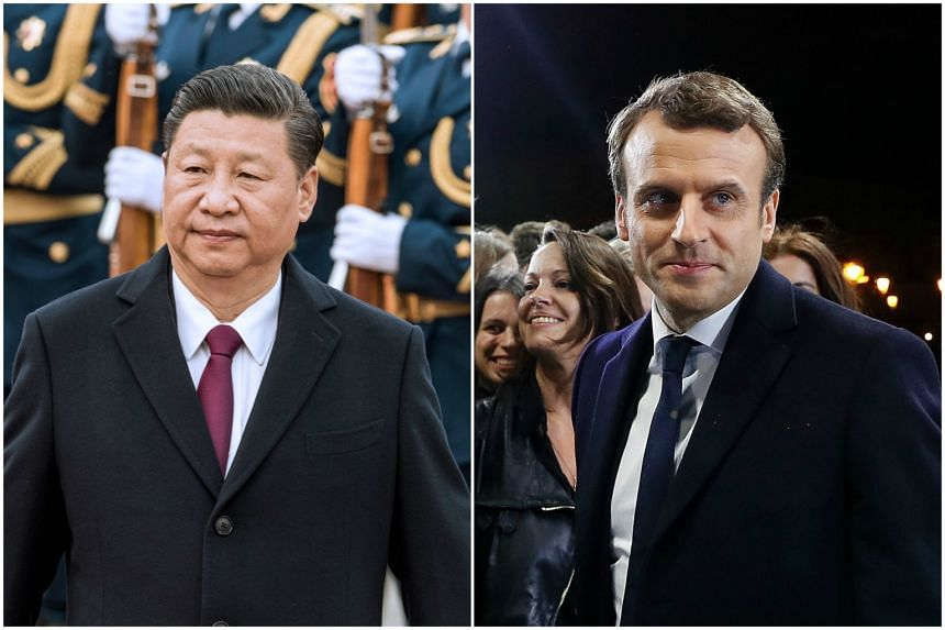 Chinese President Xi Jinping (left) congratulated French presidential-elect politician Emmanuel Macron on Monday (May 8).