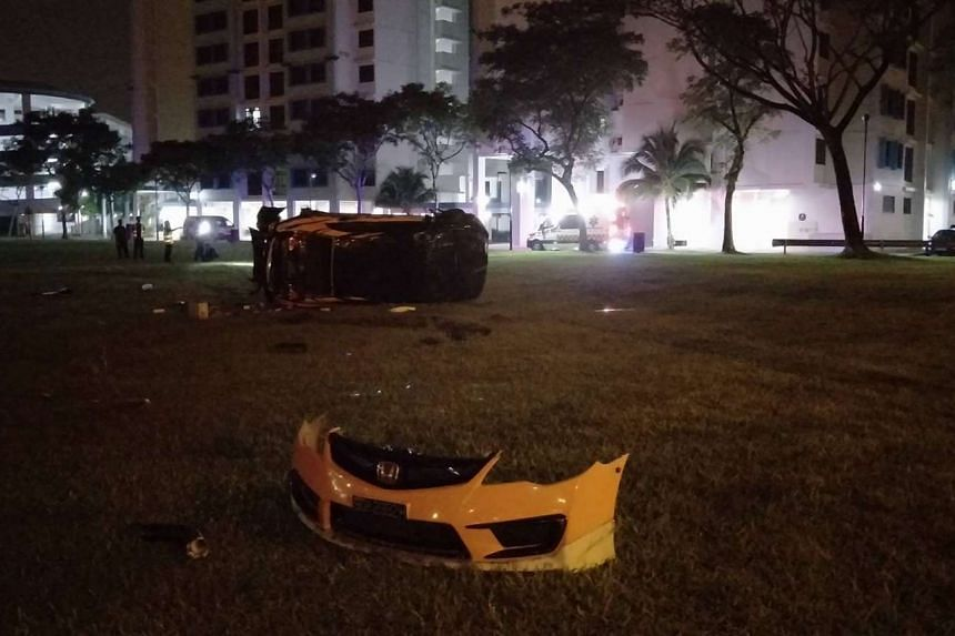 The 27-year-old drove the car away but lost control shortly, mounting the kerb and flipping the car on a grass patch.