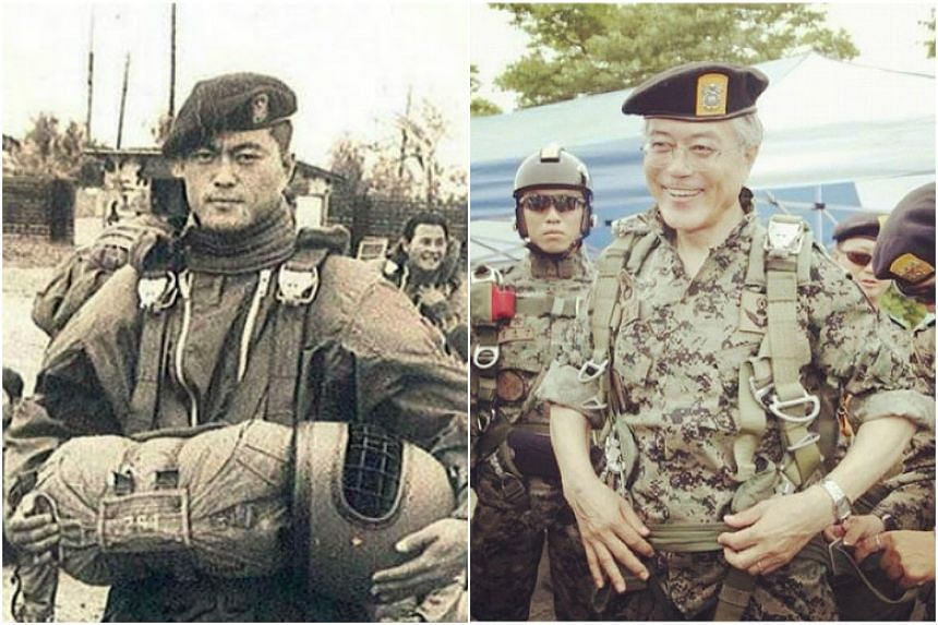 The picture of Moon Jae In when he was a member of the Special Forces went viral in South Korea and was often used to shore up his image as someone who is firm on national security issues.