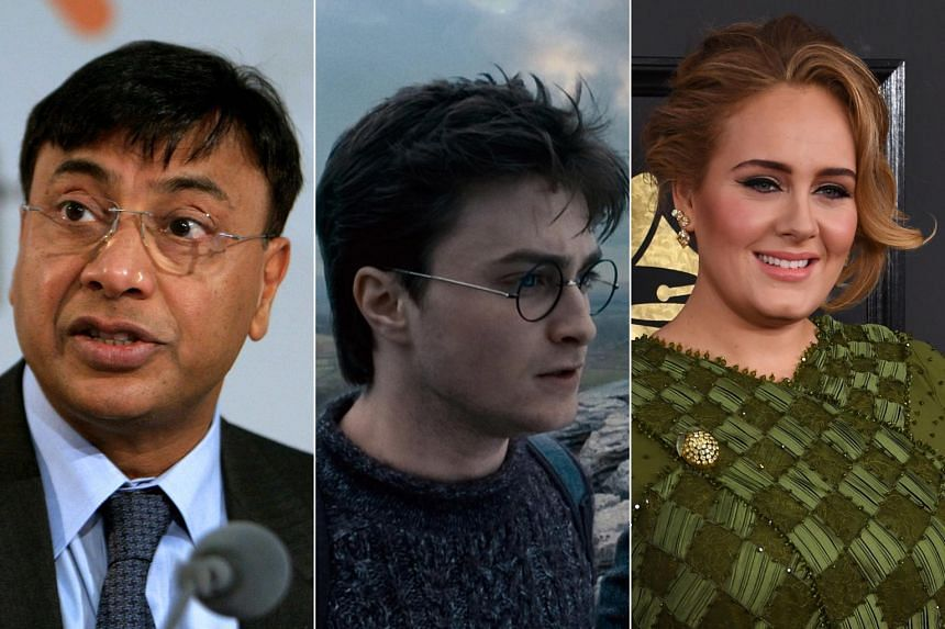 From left: Steel magnate Lakshmi Mittal, Harry Potter star Daniel Radcliffe and singer Adele all featured in The Sunday Times' 2017 Rich List. The annual list revealed that there are now 134 billionaires in the United Kingdom.