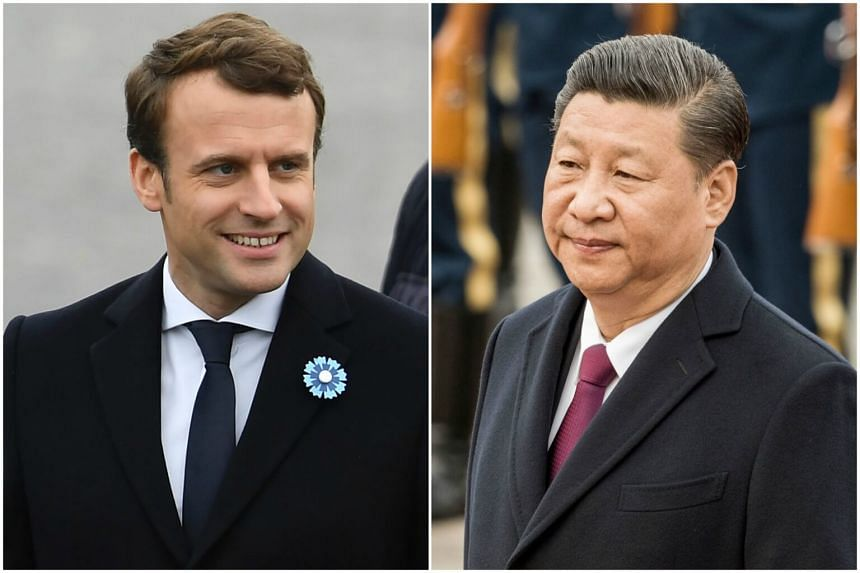 Chinese President Xi Jinping (right) had a phone call with French President-elect Emmanuel Macron (left) on Tuesday (May 9).