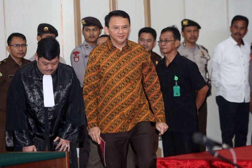 Jakarta governor Basuki Tjahaja Purnama  at the North Jakarta court in Jakarta, on April 25, 2017.