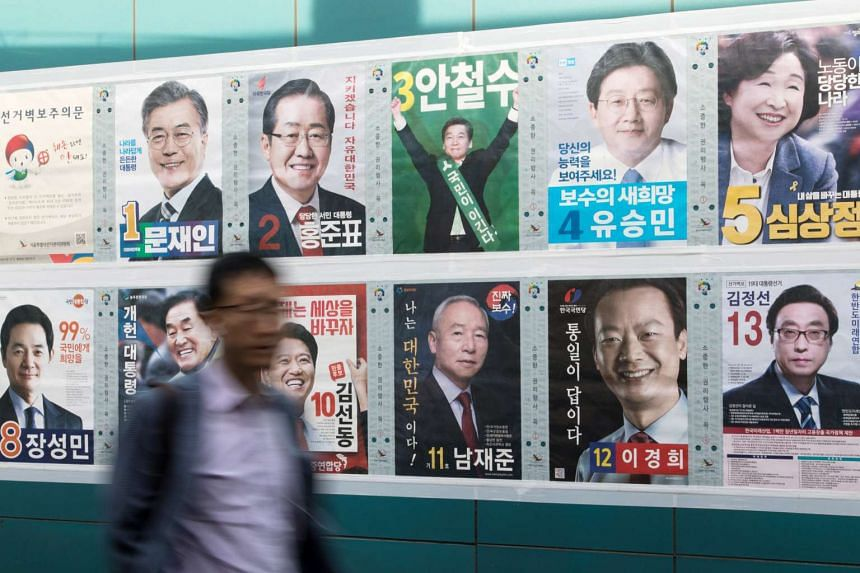 Posters of South Korean presidential candidates in Seoul, South Korea, on May 8, 2017.