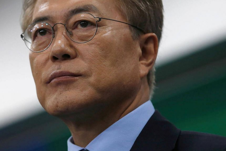 Moon Jae In speaks at his news conference in Seoul, South Korea on May 8, 2017.