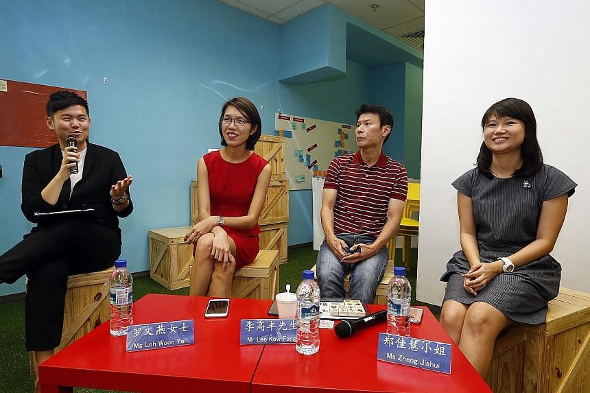 (From left) UFM100.3 radio DJ Chang Cheng Yao; SPH Chinese Media Group's vice-president of culture, education and new growth Loh Woon Yen; illustrator Lee Kow Fong, better known as Ah Guo; and Parade.Made founder Zheng Jiahui, whose rubber stamps wil
