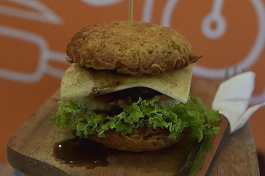 Savour a burger made with noodles in Jakarta.