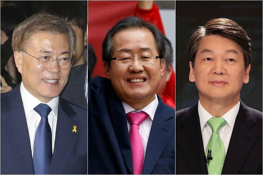 (From left) Presidential candidates Moon Jae In, Hong Joon Pyo and Ahn Cheol Soo.