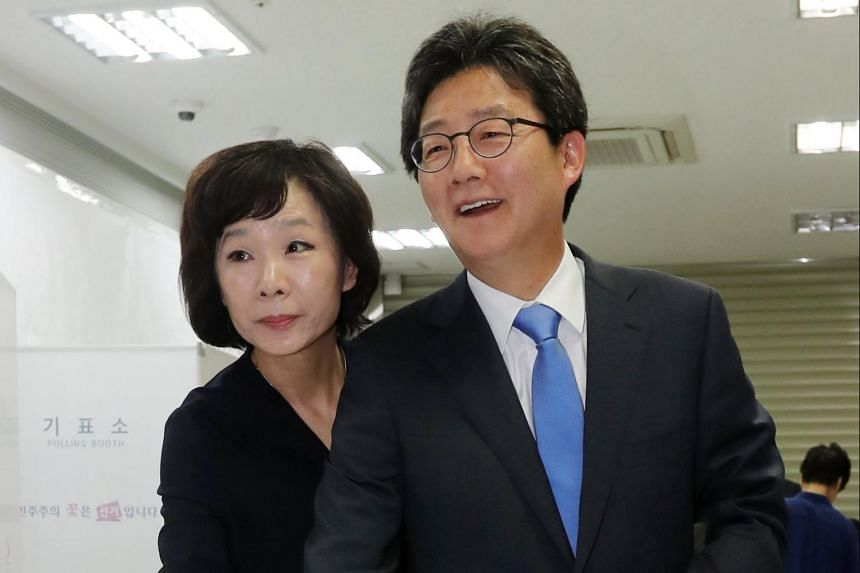 Yoo Seung Min (right), presidential candidate of the conservative Bareun Party, and his wife Oh Sun Hye cast their ballots in Daegu, some 302km southeast of Seoul.
