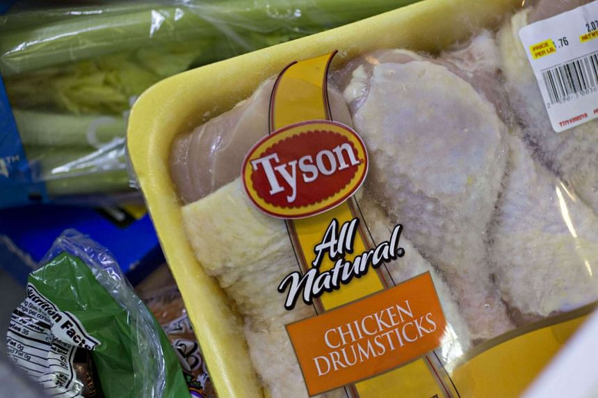 A package of Tyson Foods Inc. chicken is arranged for a photograph in Tiskilwa, Illinois, US, on May 5, 2016.