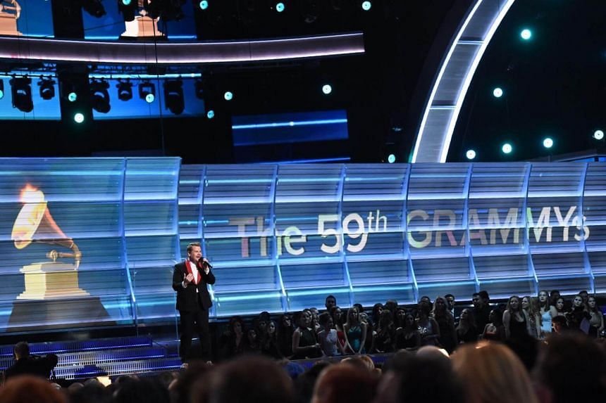 Host James Corden performs onstage during the 59th Annual Grammy music Awards on Feb 12, 2017.