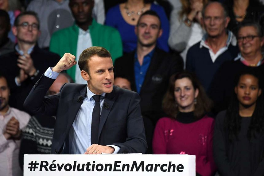 French President-elect Emmanuel Macron speaking during a campaign rally in Paris.