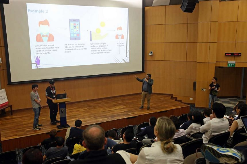 18 teams present their ideas at the 2017 F&B Tech Hackathon organised by the Restaurant Association of Singapore, at SMU on May 9, 2017.
