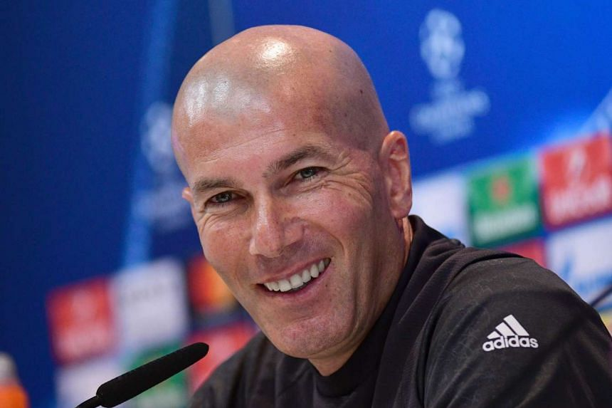 Zidane at the press conference at Valdebebas Sport City in Madrid on May 9, 2017.