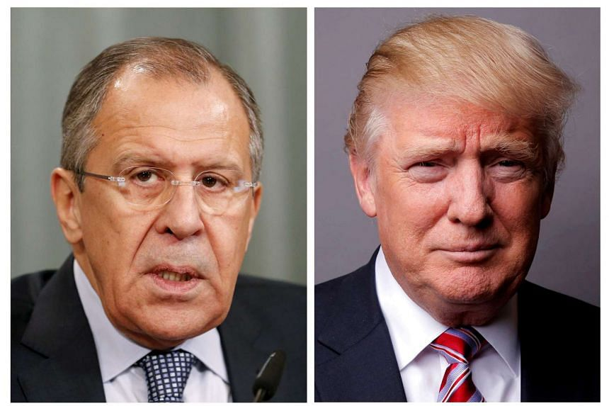 Russian Foreign Minister Sergei Lavrov (left) and US President Donald Trump.